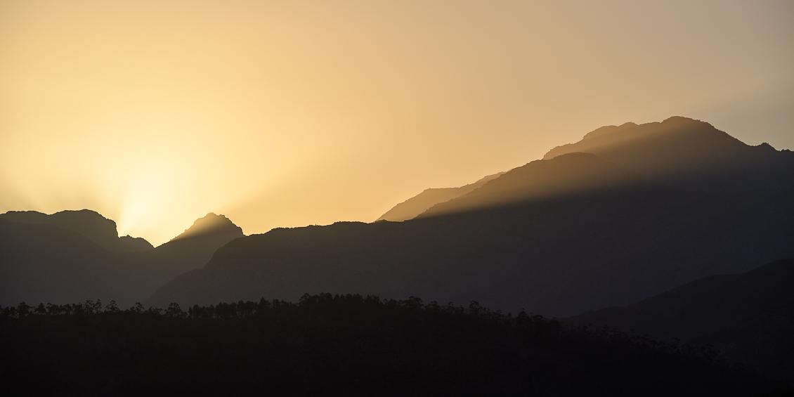 Solnedgång i Franschhoek, Sydafrika